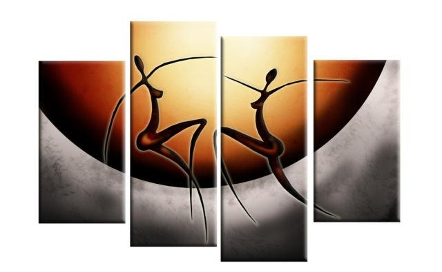 Dancing African Ladies Abstract Canvas Split Panel Wall Art 40 Regarding Abstract African Wall Art (Image 15 of 20)