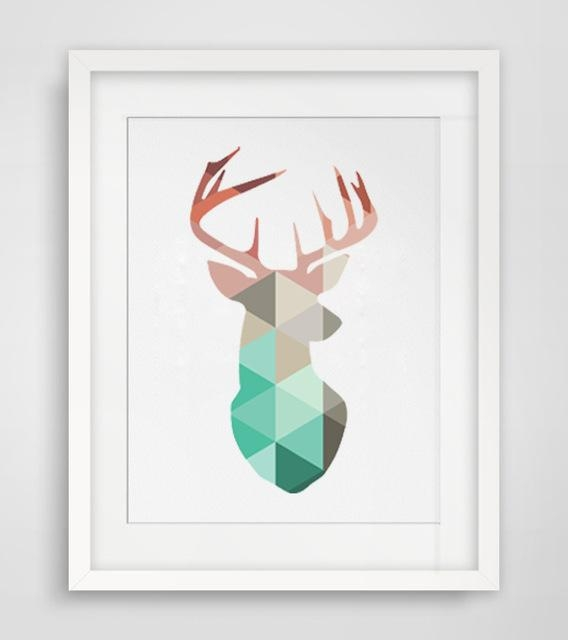 Deer Wall Art Geometric Coral Deer Head Canvas Art Print Poster With Regard To Abstract Deer Wall Art (Image 12 of 20)