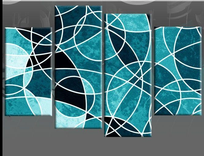 Details About Teal Large Abstract Canvas Wall Art Picture Split 4 In Diy Abstract Canvas Wall Art (View 20 of 20)