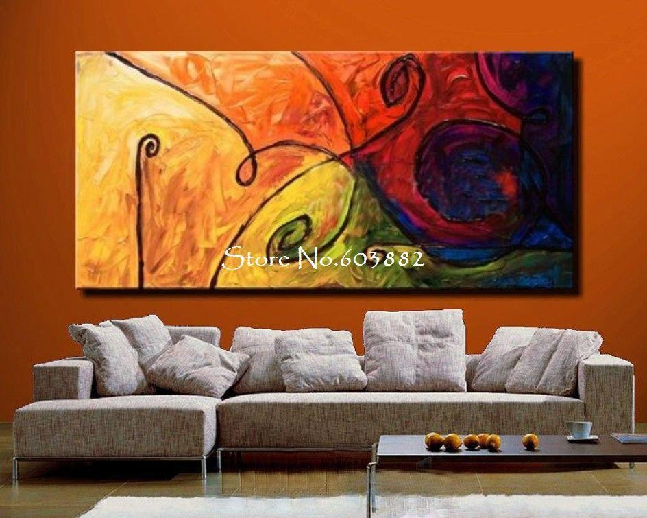 Discount 100% Handmade Large Canvas Wall Art Abstract Painting On Inside Large Abstract Wall Art (Image 3 of 20)
