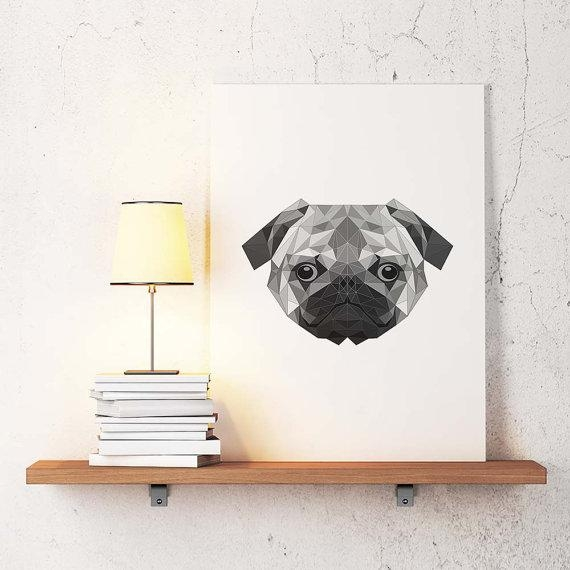 Dog Poster Geometric Art Dog Wall Decor Minimalist Abstract Pertaining To Abstract Dog Wall Art (Image 6 of 20)