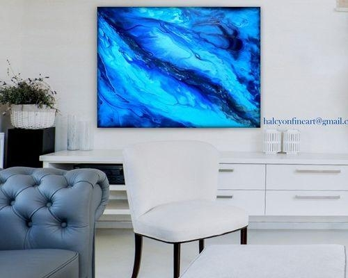 "Dwell Large Wall Art Abstract Water Or Print Up To 48""halcyon Pertaining To Dwell Abstract Wall Art (Image 10 of 20)"