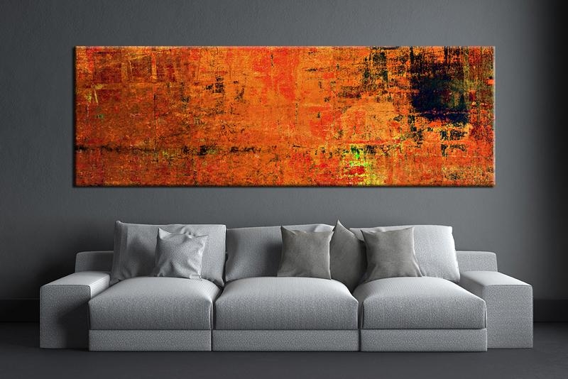 Elegant 1 Piece Orange Wall Art Abstract Canvas Print In Prepare 5 In Abstract Wall Art For Bathroom (Image 10 of 20)