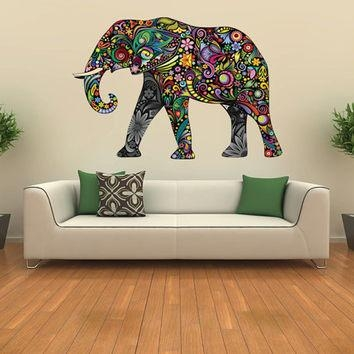 Elephant Decal, Kids Wall Sticker From Nurseryroomwallart On Etsy With Abstract Elephant Wall Art (Image 6 of 20)