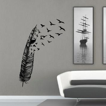 Feather Flying Bird Wall Decal Vinyl From Fabwalldecals On Etsy Inside Abstract Bird Wall Art (Image 10 of 20)
