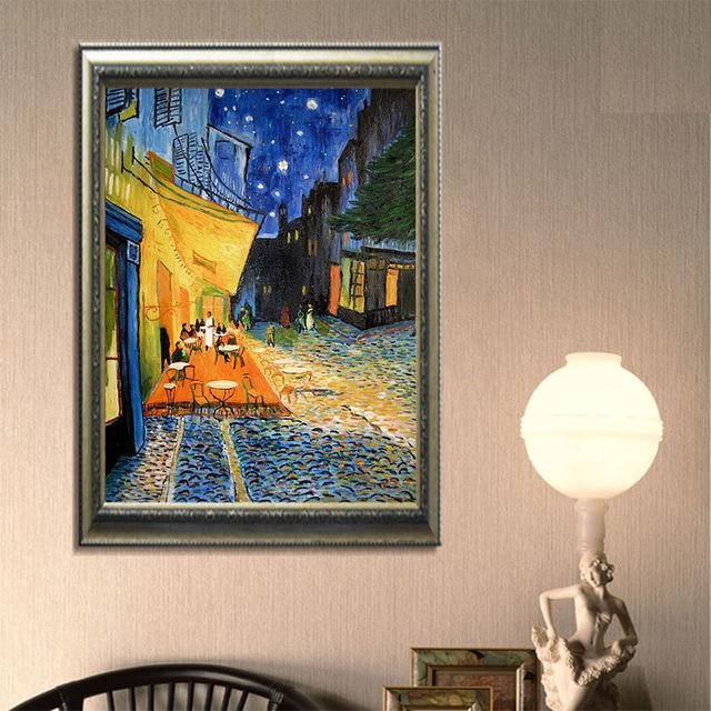 Framed A3 Digital Canvas Vincent Van Gogh Print Cafe Terrace Regarding Vincent Van Gogh Wall Art (Image 8 of 20)
