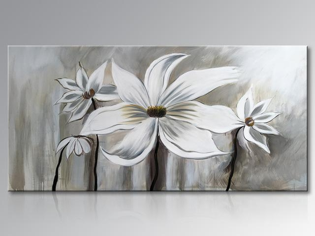 Framed Hand Painted White Lotus Flower Oil Painting On Canvas Inside Abstract Floral Wall Art (Image 13 of 20)