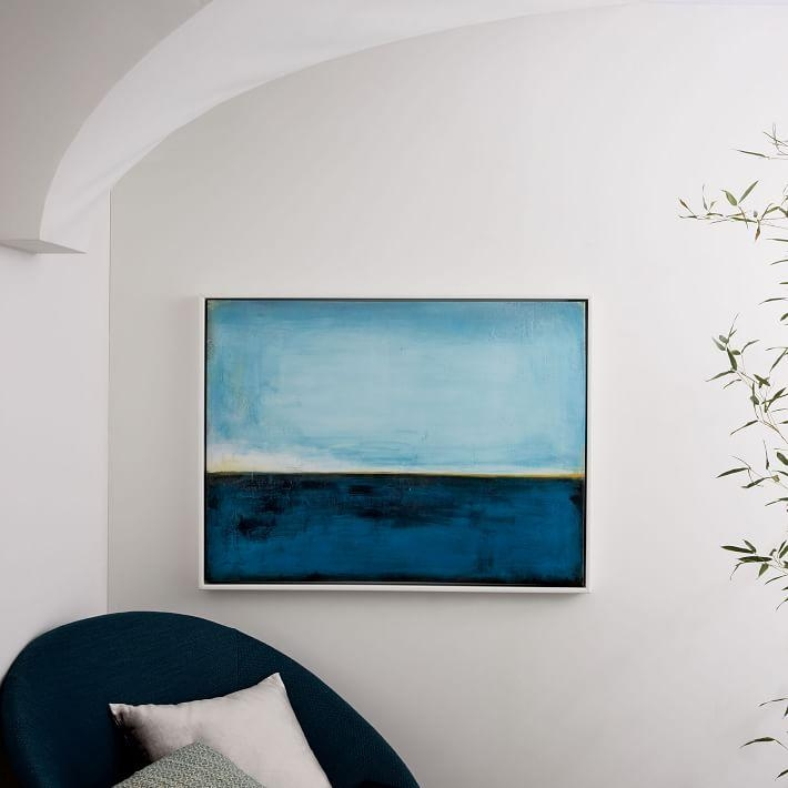Framed Print – Peacock On Aqua | West Elm With Regard To West Elm Abstract Wall Art (Image 10 of 20)
