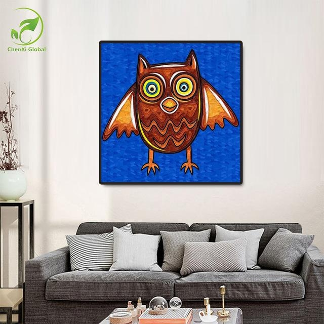 Frameless Paintingnumbers Abstract Owl Paintings Home Throughout Abstract Animal Wall Art (Image 13 of 20)