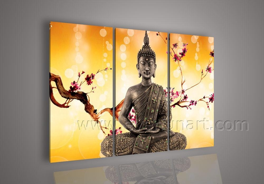 Free Shipping Framed ! Handmade Modern Abstract Art Buddha Oil In Abstract Buddha Wall Art (View 6 of 20)