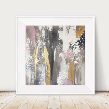 Free Shipping! Large Gold Painting Large From Glamgoldart On Etsy Inside Black And Gold Abstract Wall Art (Image 10 of 20)