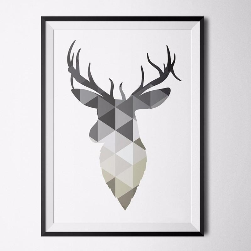 Geometric Animal Nordic Abstract Deer Alphabet Decoration Wall With Abstract Deer Wall Art (Image 13 of 20)