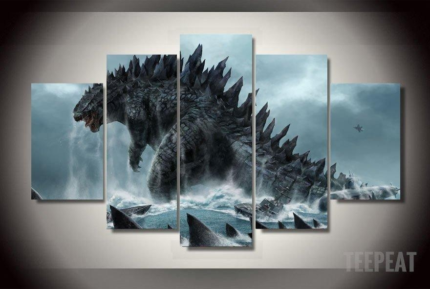 Godzilla Painting – 5 Piece Canvas Limited Edition | Godzilla Regarding Limited Edition Canvas Wall Art (View 2 of 20)