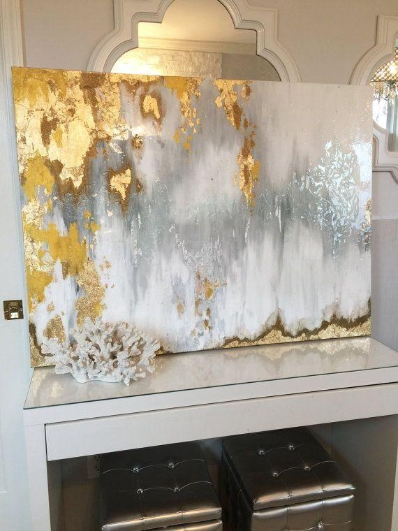 Gray And White Bathroom With Gold Leaf – Google Search | Future Regarding Abstract Wall Art For Bathroom (Image 11 of 20)