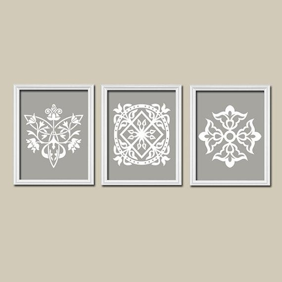 Grey Gray White Ornament Design Artwork Set Of 3 Trio Prints Within Abstract Wall Art For Bathroom (Image 14 of 20)