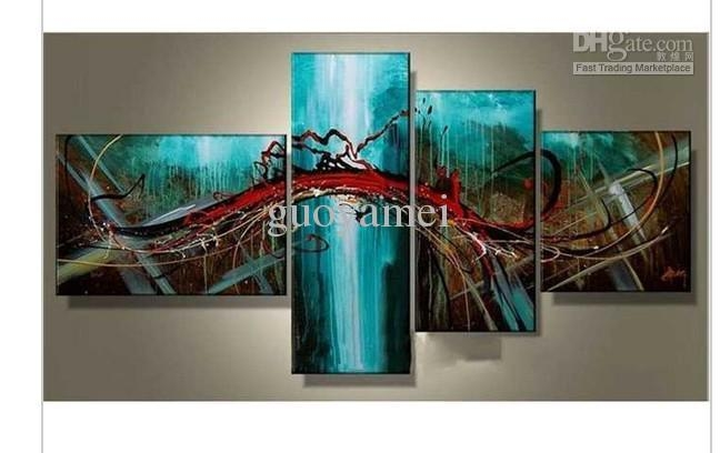 Group Wall Art Hand Painted Wall Art Blue Bridge Sky Modern Inside Blue Canvas Abstract Wall Art (View 10 of 20)