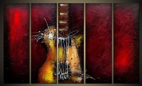 Guitar Passion Large Modern 5 Panels 100% Hand Painted Framed In Framed Abstract Wall Art (Photo 14 of 20)