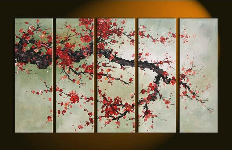 Hand Made 5 Pieces Cherry Blossom Painting Abstract Red Flower Oil Within Abstract Cherry Blossom Wall Art (Image 11 of 20)
