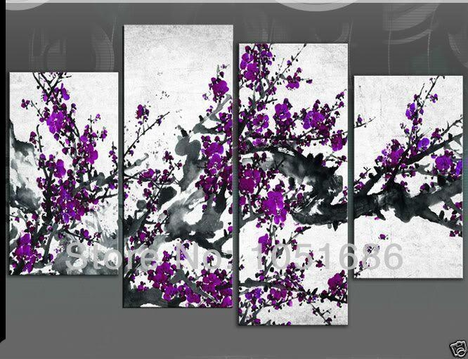 Hand Painted 4 Piece Modern Chinese Abstract Art Cherry Blossom For Abstract Cherry Blossom Wall Art (Photo 20 of 20)