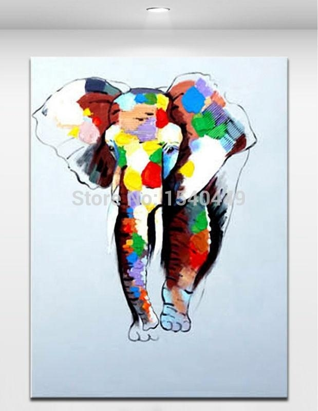 Hand Painted Abstract Cartoon Animal Pictures Canvas Art Oil Pertaining To Abstract Elephant Wall Art (Image 8 of 20)