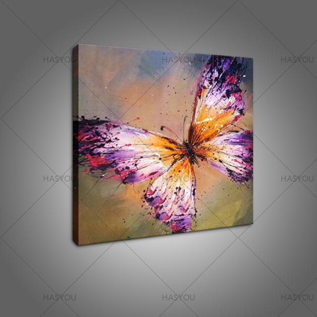 Hand Painted Abstract Purple Butterfly Oil Painting On Canvas For Abstract Butterfly Wall Art (View 8 of 20)
