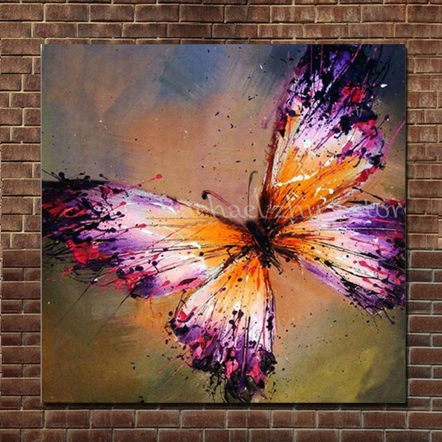 Hand Painted Abstract Purple Butterfly Oil Painting On Canvas Within Abstract Butterfly Wall Art (View 11 of 20)