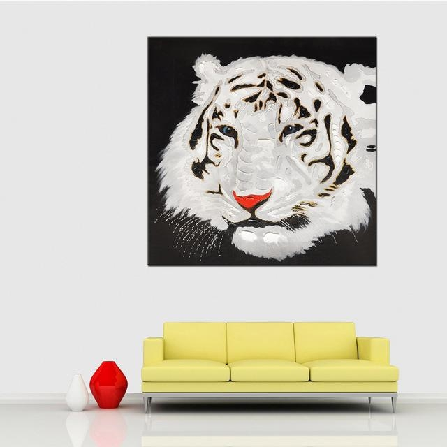Hand Painted Acrylic Painting Black & White Tiger Canvas Oil With Regard To Abstract Animal Wall Art (Image 16 of 20)