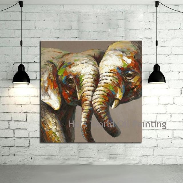 Hand Painted Canvas Art Abstract Elephant Oil Paintings Modern With Abstract Elephant Wall Art (Image 9 of 20)