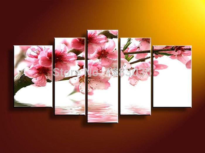 Hand Painted Cherry Blossom Arts 4 Piece Modern Flowers Oil Regarding Abstract Cherry Blossom Wall Art (Photo 10 of 20)