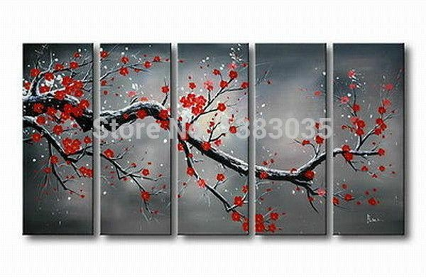 Hand Painted Cherry Blossom Landscape Painting Canvas Large Flower In Cherry Blossom Oil Painting Modern Abstract Wall Art (View 7 of 20)