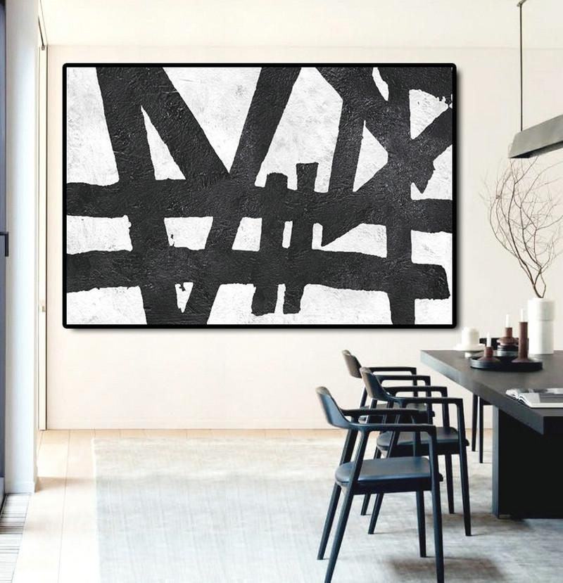 Hand Painted Extra Large Abstract Painting, Horizontal Acrylic Pertaining To Black And White Abstract Wall Art (View 7 of 20)
