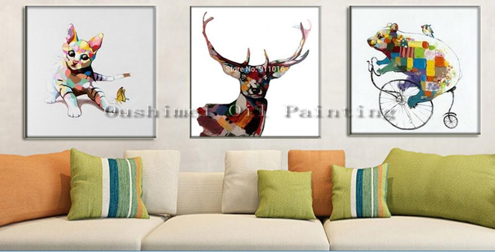 Hand Painted Knife Abstract Animal Deer Pictures Canvas Art Modern In Abstract Deer Wall Art (View 8 of 20)