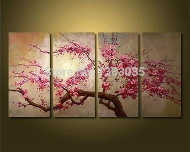 Hand Painted Large Abstract Modern Cherry Blossom Flowers Regarding Abstract Cherry Blossom Wall Art (Image 14 of 20)