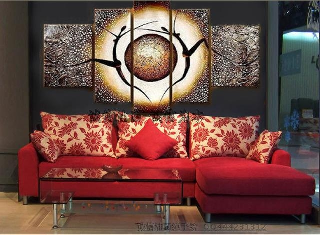 Hand Painted Modern Home Decorative 5 Pieces Canvas Art Oil Pertaining To Diy Modern Abstract Wall Art (Image 11 of 20)