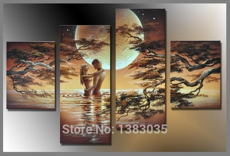Hand Painted Nude Art Woman Body Painting Canvas Set 5 Piece Intended For Abstract Body Wall Art (Image 8 of 20)