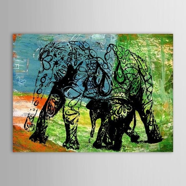 Hand Painted Oil Painting Animal Abstract Elephant Wall Picture For Abstract Elephant Wall Art (Image 10 of 20)