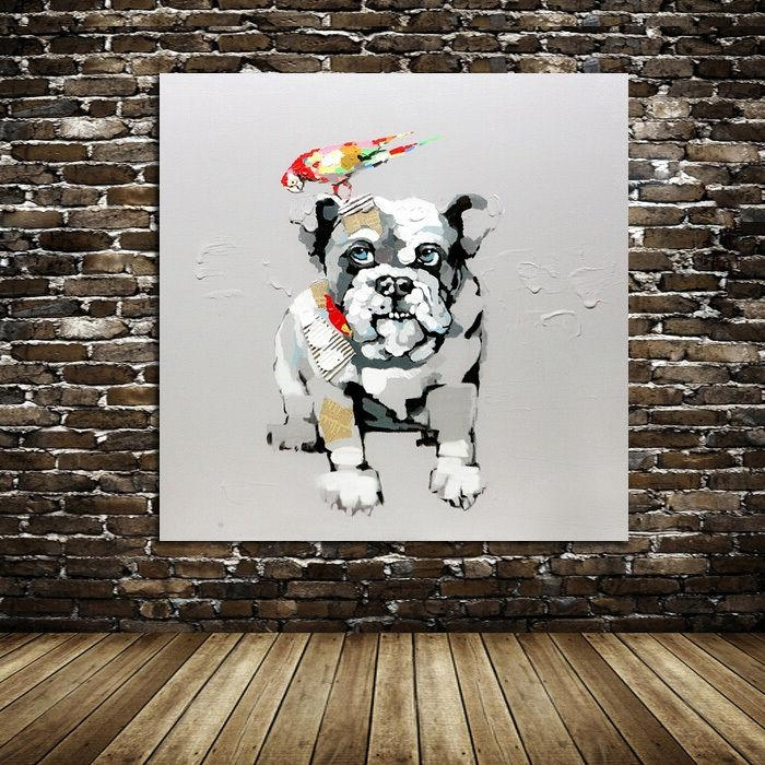Hand Painted Oil Painting Bird And Bulldog Dog Animal Modern Intended For Abstract Dog Wall Art (Image 9 of 20)