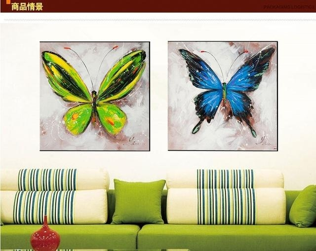 Hand Painted Oil Painting Butterfly Decorative Wall Art For Living Within Abstract Butterfly Wall Art (View 17 of 20)