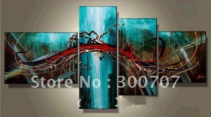 Hand Painted Oil Wall Art Pale Green Beautiful Flowers Decoration For Blue Canvas Abstract Wall Art (View 14 of 20)