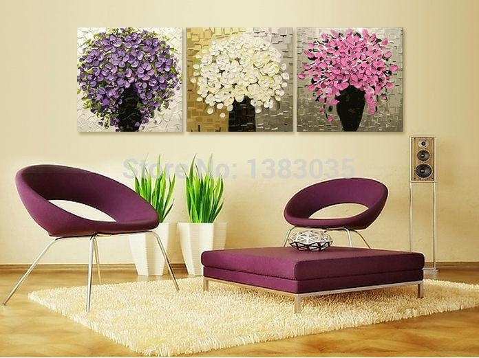 Hand Painted Palette Knife Oil Painting Art 3 Piece Modern With Abstract Flower Wall Art (Image 14 of 20)