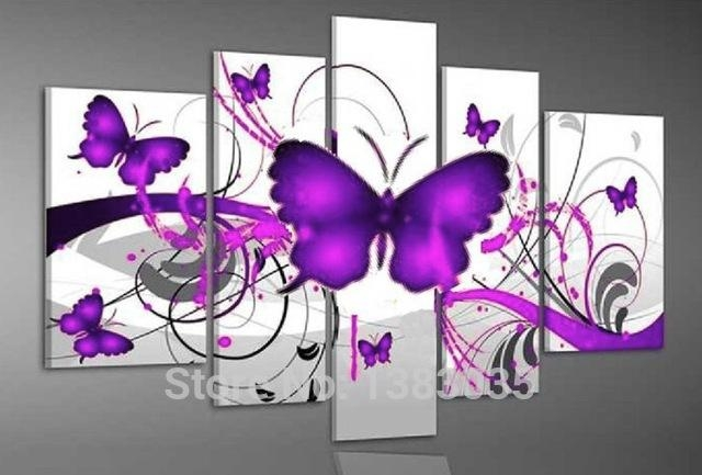 Hand Painted Purple Butterfly Wall Painting On Canvas 5 Piece Intended For Abstract Butterfly Wall Art (View 5 of 20)