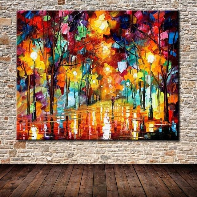 Hand Painted The Bright Light Modern Abstract Palette Knife With Regard To Bright Abstract Wall Art (Image 13 of 20)