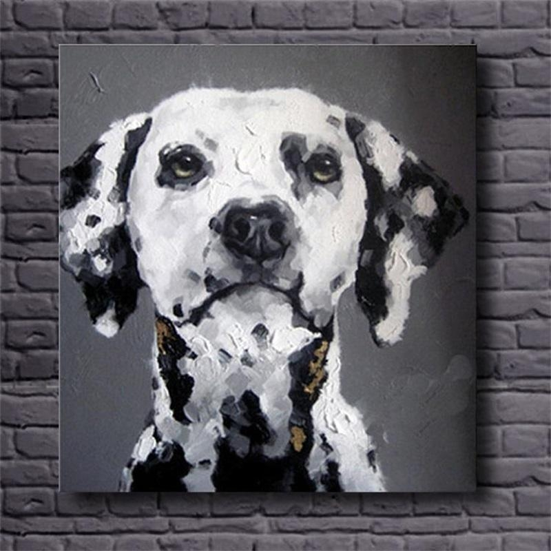 Hand Painted Wall Art Black White Abstract Oil Paintings Dog Inside Abstract Dog Wall Art (Image 10 of 20)