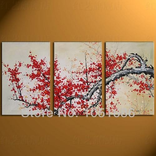 Handmade 3 Panel Decorative Modern Abstract Canvas Red Cherry In Cherry Blossom Oil Painting Modern Abstract Wall Art (View 2 of 20)