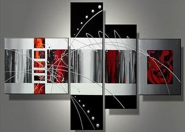 Handmade 4 Piece Black White Red Contemporary Abstract Wall Art Throughout Contemporary Abstract Wall Art (Image 8 of 20)