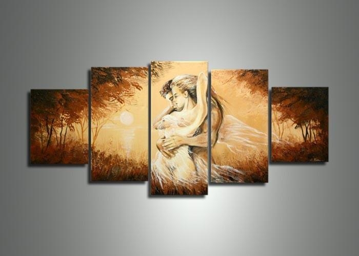 Handmade 5 Panel Modern Abstract Oil Painting On Canvas Wall Art With Regard To Abstract Body Wall Art (Image 11 of 20)