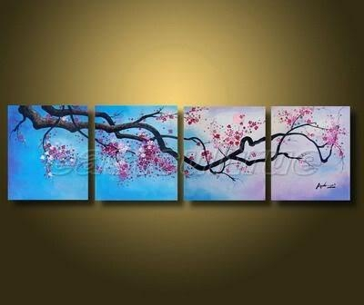 Handmade Abstract Cherry Blossom Flower Landscape Oil Painting On Intended For Cherry Blossom Oil Painting Modern Abstract Wall Art (Image 13 of 20)