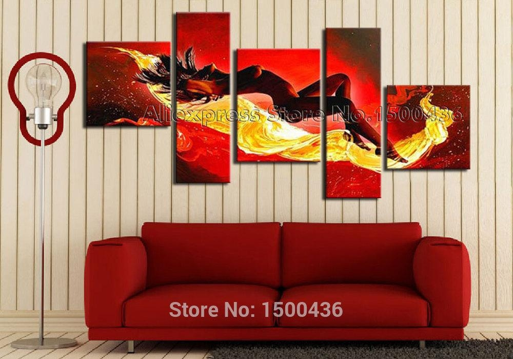 Handmade Abstract Nude Sexy Painting Oil Girl Set Modern Woman In Abstract Body Wall Art (Image 12 of 20)