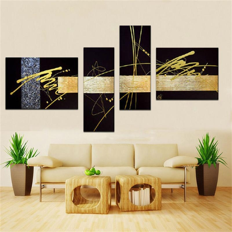 Handmade Black Gold Silver Modern Abstract Wall Art Oil Painting With Regard To Black And Gold Abstract Wall Art (Image 15 of 20)