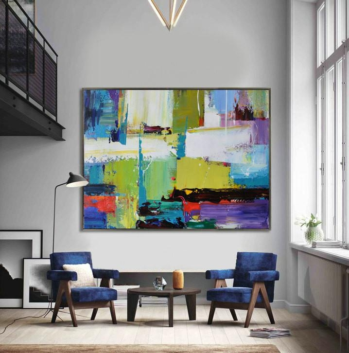 Handmade Extra Large Contemporary Painting, Huge Abstract Canvas For Extra Large Abstract Wall Art (Image 9 of 20)